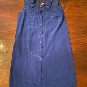 Club Monaco Silk Sleeveless Shirt Dress Royal Blue
